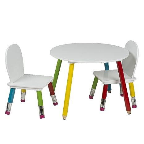 Mesa de lápiz para niños con 2 sillas, muebles para habitaciones infantiles y cuartos de juego