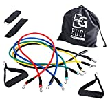 BOGI 12 Pcs Resistance Band Set - 5 Exercise Bands, 2 Foam Handle, 2 Ankle Straps ,Door Anchor, and Carry Bag Gift - Perfect For Resistance Training / Physical Therapy / Gyms Fitness Yoga