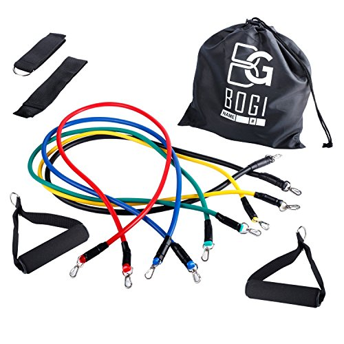BOGI 12 Pcs Resistance Band Set - 5 Exercise Bands, 2 Foam Handle, 2 Ankle Straps ,Door Anchor, and Carry Bag Gift - Perfect For Resistance Training / Physical Therapy / Gyms Fitness Yoga by BOGI