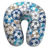 U Neck Pillow Airplane Office Travel Rest Blue Soccer Balls Memory Foam U Shape Pillow