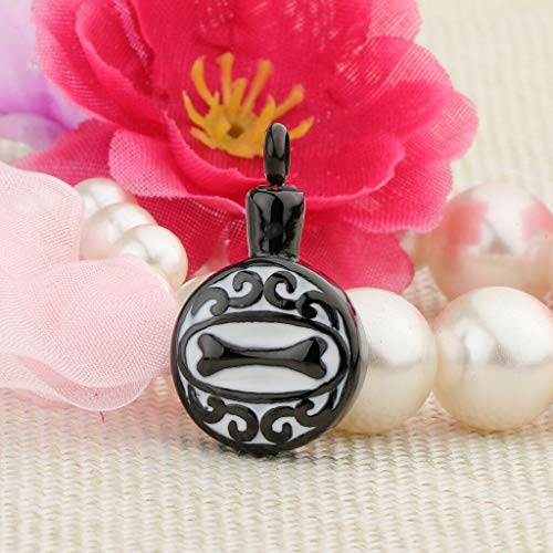 Retro Round Urn Pendant Puppy Dog Love Pet Urn Cremation with Bone Engraving Necklace Jewelry Crafting Key Chain Bracelet Pendants Accessories Best| Color - Black