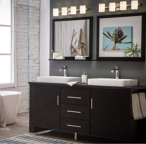 Espresso Finish Vanity - Design Element Washington Double Drop-In Vessel Sink Vanity Set with Three Drawers and Espresso Finish, 72-Inch