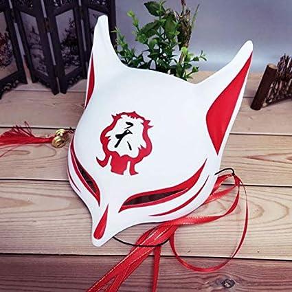 Máscara de Zorro de Anime japonés con borlas y campanillas en la Mitad Superior de la Cara Disfraz de Fiesta de Disfraces de Adultos para Adultos A3