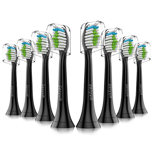 Diamond Clean Replacement Toothbrush Heads Black with Cap, Brush Heads Fit Perfectly for Philips Sonicare Snap-On Interface Design, 8 Pack