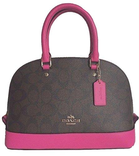 Coach F58295 Mini Sierra Satchel Brown/Black Signature Crossbody Handbag (Fuchsia) by Coach