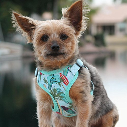 Dog Surfboard - DOGGIE DESIGN Wrap and Snap Choke Free Dog Harness (Surfboards and Palms, L)