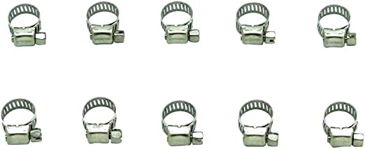 Worm 3//8 10-PACK Stainless-Steel Hose Clamps