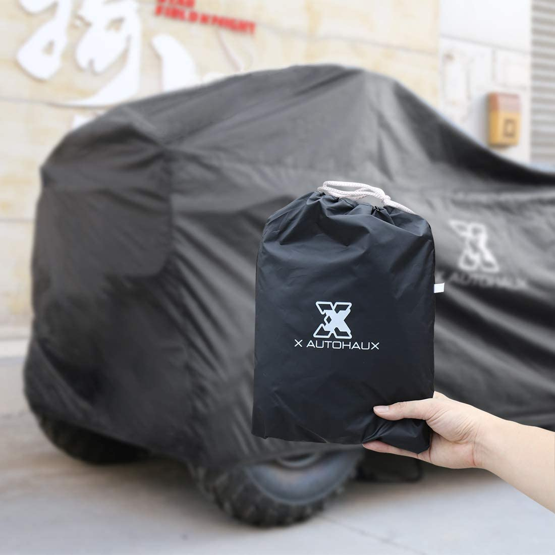 X AUTOHAUX Waterproof All Weather Protector Quad ATV Cover 4 Wheelers Cover Universal Fit Black with Silver Coating Inside XXXL Size 100.8 x 43.3 x 47.2 Inch