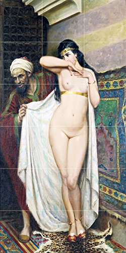 Tile Mural THE SLAVE MERCHANT by Fabio Fabbi girl nude man woman Kitchen Bathroom Shower Wall Backsplash Splashback 3x6 4.25'' Ceramic, Glossy by FlekmanArt