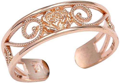 (Ladies 10k Rose Gold Filigree Pink Flower Adjustable Toe Ring)