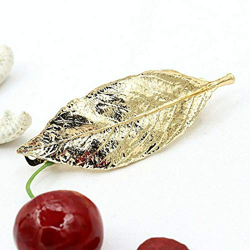 Women Girl Vogue Hairpin Gold Silver Animal Geometry Flower Hair Clip Barrette (Patterns - Gold Leaf)