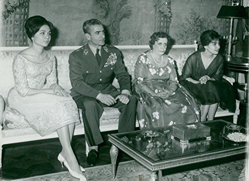 Vintage photo of Shah Riza Pahlevi of Persia surrounded by his fianc233; Farah Diba, widow-girl Taj Moluk and daughter Shahnaz