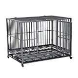 PawHut 48'' Heavy Duty Steel Dog Crate Kennel Pet Cage w/Wheels - Grey Vein