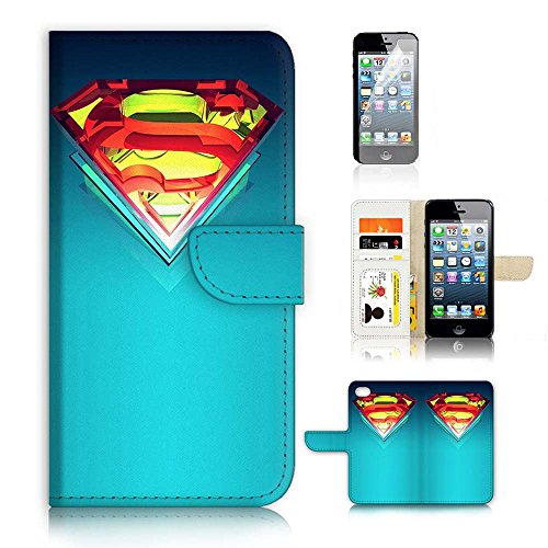 ( For iPhone 5 5S / iPhone SE ) Flip Case Wallet Cover with Screen Protector - US B30009 - Superman Super Hero B30009