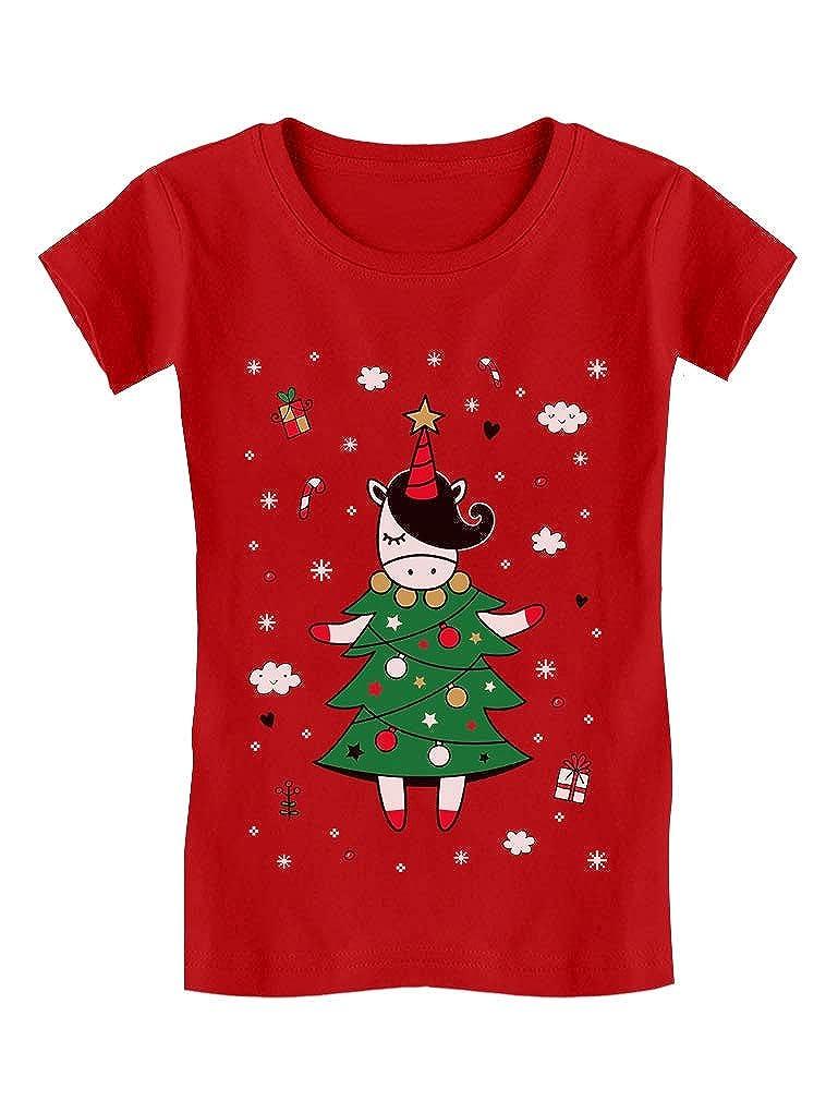 Tstars - Unicorn Xmas Tree Dress Cute Ugly Christmas Girls' Fitted Kids T-Shirt GaMPhMlgwm