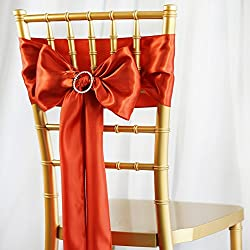 BalsaCircle 50 Burnt Orange Satin Chair Sashes Bows Ties for Wedding Party Ceremony Reception Event Decorations Supplies Cheap