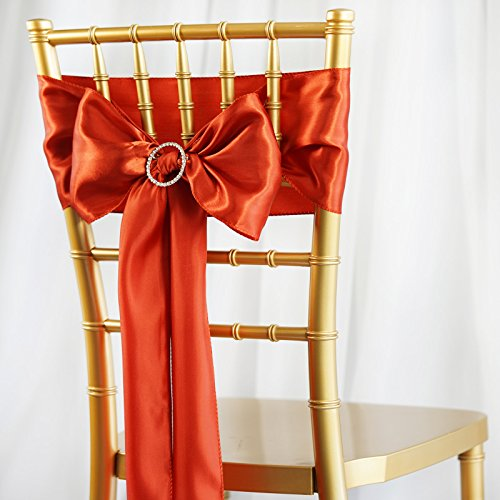 BalsaCircle 50 Burnt Orange Satin Chair Sashes Bows Ties for Wedding Decorations Party Supplies Events Chair Covers Decor Banquet Reception