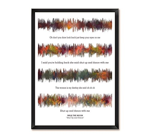 Lab No. 4 Walk The Moon Shut Up And Dance Song Soundwave Lyrics Music Framed Poster by Lab No. 4