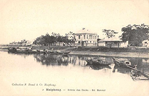 Haiphong Vietnam Docks River Scenic View Boats Antique Postcard J74989 (River Dock)