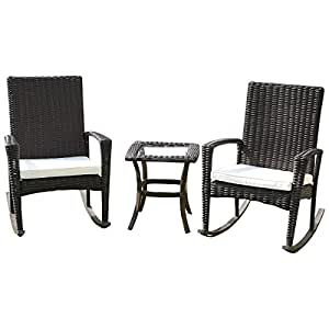 3 Pcs. Rattan Wicker Patio Coffee Table Furniture Set Rocking Chair Cushioned