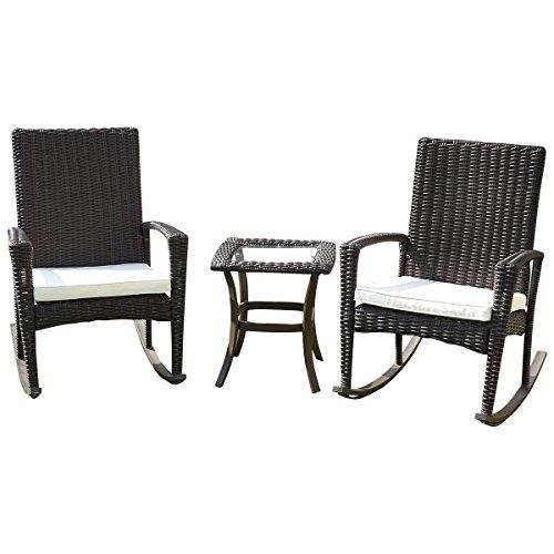 3 pcs rattan wicker patio furniture set coffee garden rocker porch table rocking chair - Rocker Cushioned