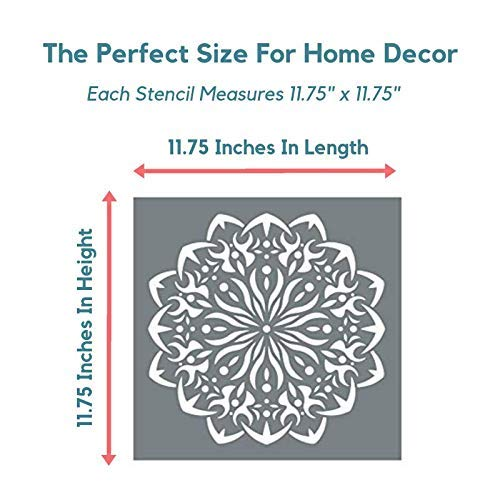 Large Mandala Stencil Set - 2 Reusable Mandala Stencils - Stencil Mandala  Shapes on Walls, Art + More with a Big Mandala Stencil - Modern Mandala  Wall