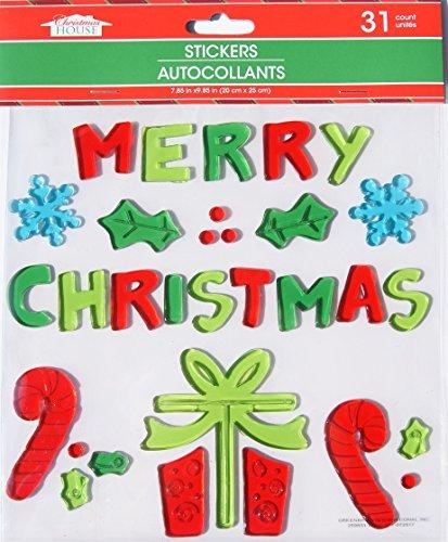 Christmas House Christmas Winter Gel Window Clings - Merry Christmas - 31 Piece