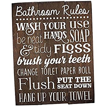 Clean bathroom sign funny distressed black for Bathroom decor rules