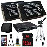 Two Canon EOS M 18 MP CMOS Mirrorless Digital SLR Camera LP-E12 Lithium Ion Replacement Battery + 16GB SDHC Class 10 Memory Card + Full Size Tripod + SDHC Card USB Reader + Memory Card Wallet + Deluxe Starter Kit Bundle DavisMAX EOS M Accessory Kit