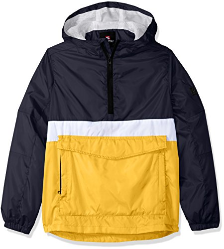 Southpole Big Boys' Anorak Colorblock Water Resistance Hooded Pullover, Yellow(Packable), Medium Athletic Mesh Pullover