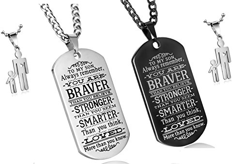 C&L Pack of 2 To My Son Always Remember You Are Braver Than You Believe Quotes Dog Tags Pendant Necklace Love Gift