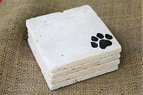 - Dog Paw Print Drink Coasters - Absorbent Coasters, Square Travertine Stone Tiles, Handmade Animal Stamped Coaster Set