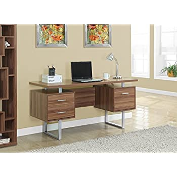 Perfect Monarch Specialties Walnut Hollow Core/Silver Metal Office Desk, 60 Inch