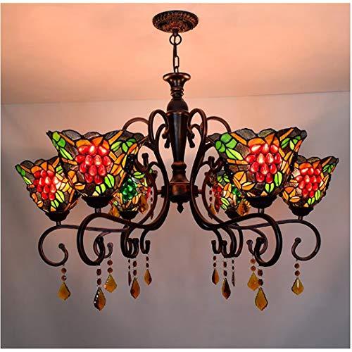 YJFFAN Vintage Idyllic Grape Stained Glass Shade Chandelier Ceiling Lighting Tiffany Style Ceiling Lamp 6-arm Pendant Lights for Bar Bedroom Livingroom E27 ()