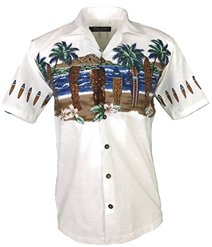 Favant Tropical Luau Beach Tiki Print Mens Hawaiian Aloha Shirt