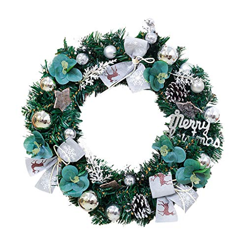 Shan-S Christmas Decorations Wreath Merry Christmas Rattan Artificial Red Poinsettia Pine Garland Wreath Xmas Home Party Décor for Front Door Window Props Shopping Mall Scene Layout Ornaments (Prices Poinsettia)