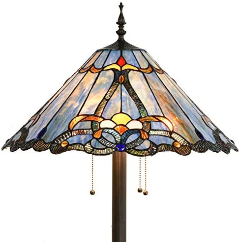 Bieye L10687 Baroque Tiffany Style Stained Glass Floor Lamp with 18 Inch Wide Blue Shade for Reading Working Bedroom Living Room, 3 Lights, 63.5 inch Tall
