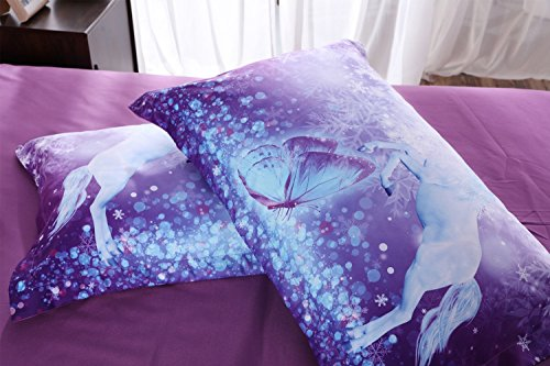 Alicemall 3D Unicorn Bedding Elegant White Unicorn Butterfly Flying Snowflake Print Duvet Cover Set, Soft and Breathable 4 Pieces Purple Bedding Set, Twin Size Kids' Bed Set (Twin, Purple Unicorn) by Alicemall (Image #4)