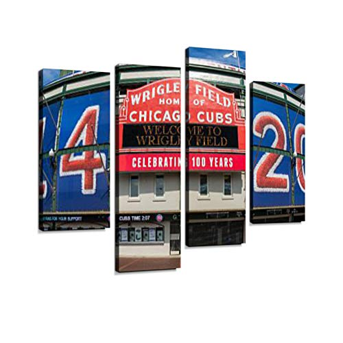 Wrigley Field Canvas Wall Art Hanging Paintings Modern Artwork Abstract Picture Prints Home Decoration Gift Unique Designed Framed 4 Panel
