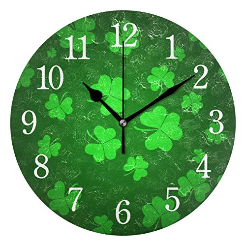 Wytloe Round Wall Clock, Irish Luck Four Leaf Shamrock Saint Patrick's Day Silent Non-Ticking Numeral Acrylic Oil Painting 9.45