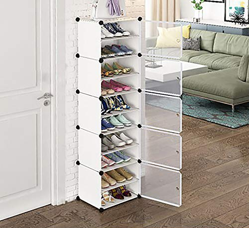 10-Layer-Plastic-Double Portable Shoe Rack Storage Organizer Shoe Box Storage System with Doors, Shoes, Accessories – White