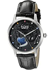 Burgi Womens BUR149BK Silver Quartz Watch With Black Swarovski Crystal Accented Dial and Black Embossed Leather...