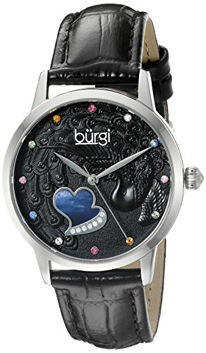 Burgi Women's BUR149BK Silver Quartz Watch With Black Swarovski Crystal Accented Dial and Black Embossed Leather Strap - Swarovski Crystal Heart Watch