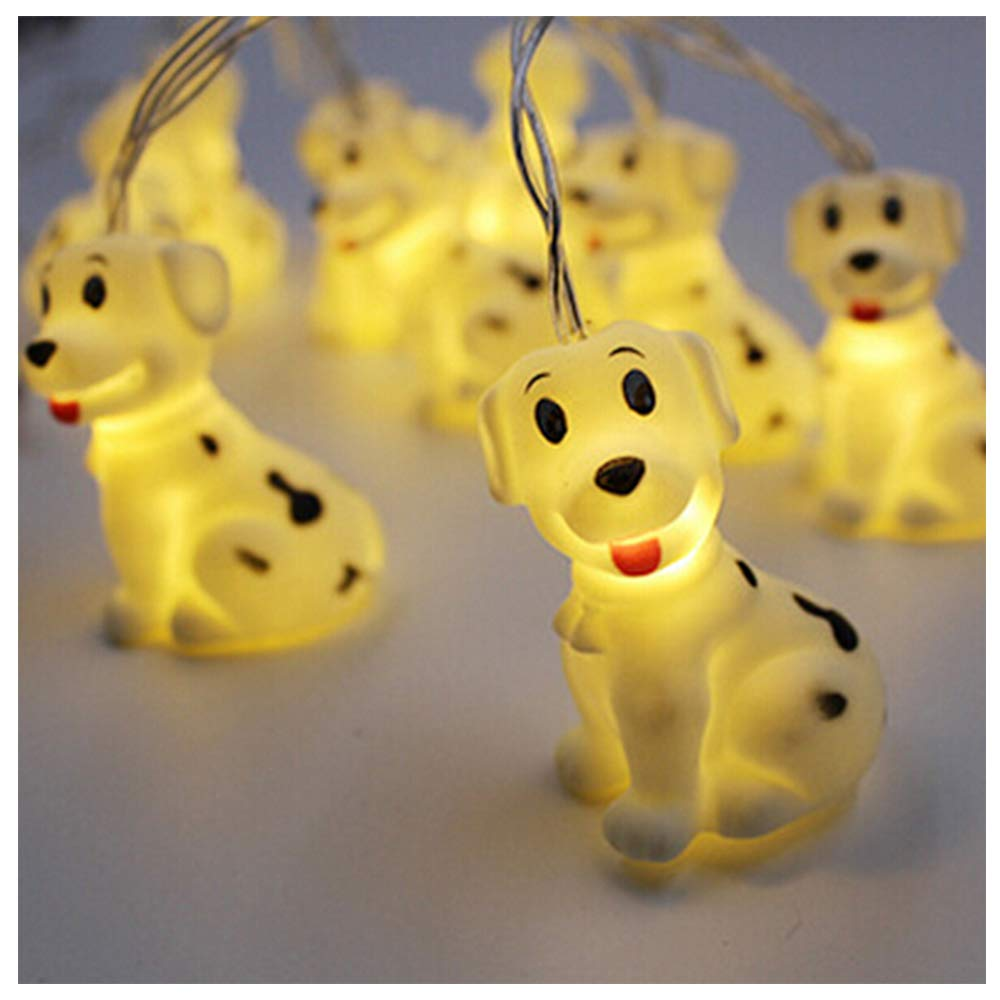 Smart Life Helper Indoor Outdoor 4.9 ft Spotty Dog Cute Animal Ornaments Battery Operated 10 LED Decorative String Lights for Party Yard& Garden Kids Bedroom Living-room Dorm Uses
