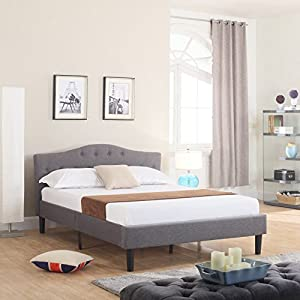 Divano Roma Furniture Classic Deluxe Linen Low Profile Platform Bed Frame with Curved Headboard Design and Button Details