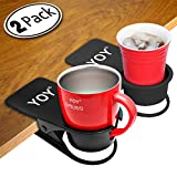 YOY 2 Piece Drinking Home Office Table Desk Side Huge Clip Water Drink Beverage Soda Coffee Mug Holder Cup Saucer Design, Black