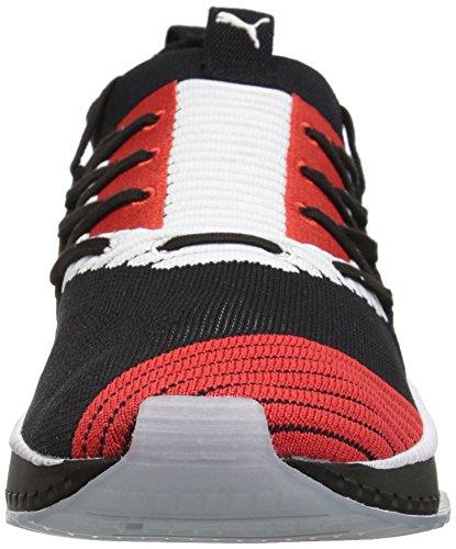 PUMA Men's Tsugi JUN Cubism Sneaker, Black White-Flame Scarlet, 10.5 M US