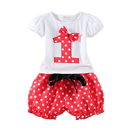 Mud Kingdom Baby Girls Birthday Outfits I Am 1 Year Clothes Short Sets Red (Red Outfit)