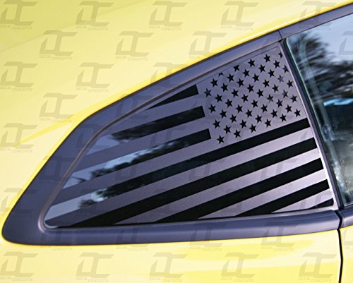 Camaro 6th GEN American Flag Rear Quarter Window Accent Decal Kit (2016-2018) (Flat Back)