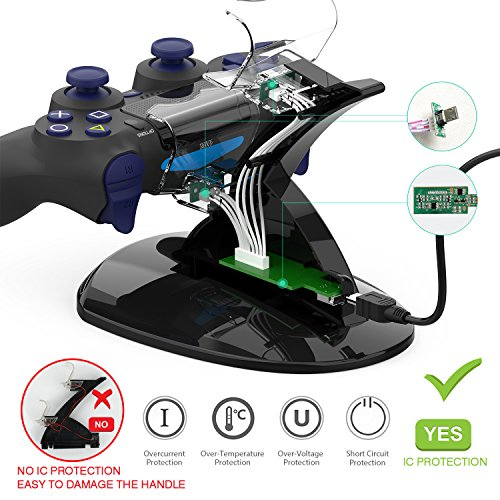 Y Team Slim Controller Dual USB Fast Charging Docking Station Stand & LED Indicator for Sony PS4 and PS4 Pro Controller, Black - PlayStation 4